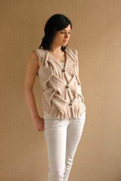 Beige Hand Knit Vest Modern Vest Wool Vest Natural by LidiArt, $70.00