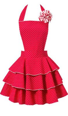 Petite Dot Party Red Apron Image, Reminds me of baking cookies with my Mom Mom!!! #red #apron #ruffles