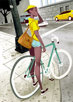 The use of texture is amazing here.       Fixie Illustrations by Thorsten Hasenkamm
