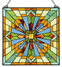 Clouds in the Sky Square Stained Glass Window Panel | 18 inches