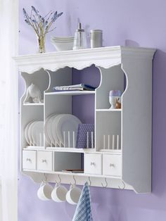 white shabby chic kitchen hanging cabinet - I need one of these