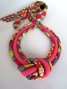 Ankara Knot Necklace African Print Fabric Jewelry by Diy Fabric Jewellery, Textile Jewelry, Fabric Necklace, Knot Necklace, Braided Necklace, African Necklace, African Jewelry, African Accessories, Handmade Accessories
