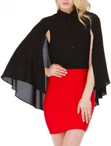 abaday offers Black Split Sleeve Pocket Chiffon Cape Blouse & more to fit your fashionable needs. Blouse Online, Cape, Mini Skirts, Chiffon, Pocket, Sleeves, Shopping, Black, Fashion