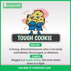 Idiom of the Day: Tough Cookie Advanced English Vocabulary, Learn English Grammar, Learn English Words, English Language Learning, English Sentences, English Phrases, English Idioms, English Lessons, English English