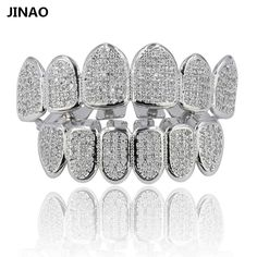 JINAO New Custom Fit Hip Hop Teeth Grillz Gold Color Plated Micro Pave CZ Stones Grills Cap Top&Bottom Grill set For Men n Women #Affiliate