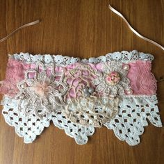Handmade Lace Cuff in Pink  £7.00