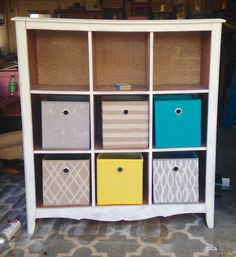 Dresser cubby organizer. Backed with chicken wire and burlap