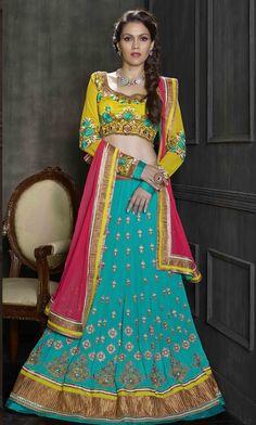 Shop for turquoise blue & green 3-piece lehenga choli @ rs 8720…