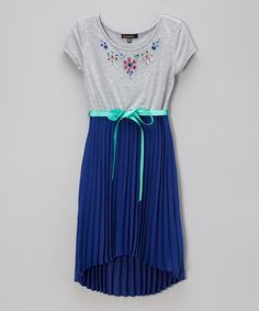 This Heather Gray & Royal Blue Floral Rhinestone Hi-Low Dress - Girls by Zunie & Pinky is perfect! #zulilyfinds