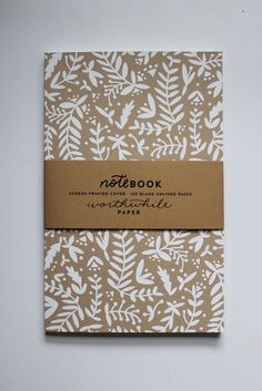 Hand drawn nature ferns notebook with blank pages.