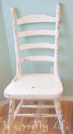 To A Pretty Life: Chair spray painted Heirloom White, sanded and waxed.