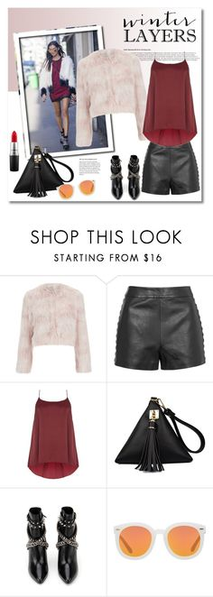 """""""Get the look"""" by vkmd ❤ liked on Polyvore featuring RED Valentino, Topshop, Yves Saint Laurent, Karen Walker, MAC Cosmetics, women's clothing, women's fashion, women, female and woman"""
