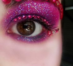 Fuscia Rhinestone Glitter Eye Makeup