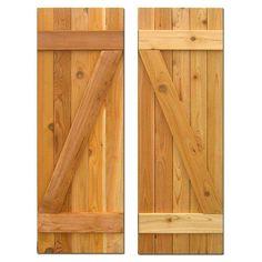 Design Craft MIllworks 15 in. x 60 in. Board-N-Batten Baton Z Shutters Pair Natural Cedar-420129 - The Home Depot