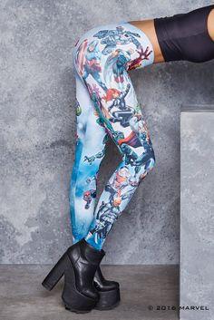 Capri 3//4 Length Low Waist Thor Logo Avengers Superhero Inspired Yoga Leggings