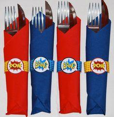 Superhero party napkin rings printable, napkins, superhero birthday, superhero party favors, superhero party decorations, party printable  By: MagicPartyDesigns