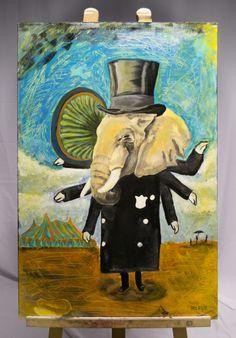 1/ 7    'WAPPERENDE OLIFANT'  Acryl op hout / Voor en achter vernist 30 cm breed - 90 cm hoog - 1 cm dik  Kunstenaar: Rick De Herdt - 6PUG  STARTBOD = 20 euro
