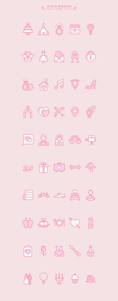 Love & Wedding icon set (free) on Behance Web Design, Icon Design, Graphic Design, Design Layouts, Flat Design, Wedding Icon, Free Wedding, Doodle Icon, Doodles