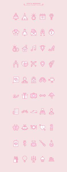 Love & Wedding icon set (free) on Behance