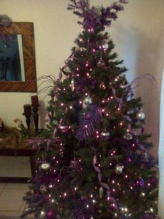 Purple & silver christmas tree Silver Christmas Tree, Purple Christmas, Christmas Things, Xmas Tree, Christmas Trees, Christmas Decorations, Christmas Ornaments, Holiday Fun, Holiday Decor