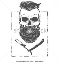Bearded skull illustration: Más