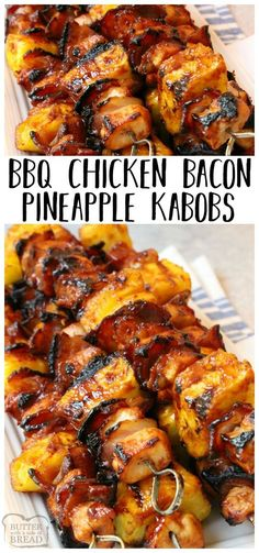 Tender chicken paired with tangy pineapple and smoky bacon all slathered with your favorite BBQ sauce. This BBQ Chicken Bacon Pineapple Kabobs recipe is one of my favorite grilled BBQ chicken dinners! Easy grilled chicken dinner recipe from Butter With A Side of Bread via Jessica Williams {ButterwithaSideofBread.com}