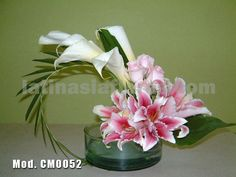 #pink oriental lilies and roses with mexican calla lilies #wedding #centerpiece