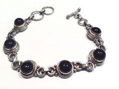 """Vintage Black Onyx  925 Sterling Silver 7.75"""" BRACELET 11 MM / 21.0 GR. #Chain"""