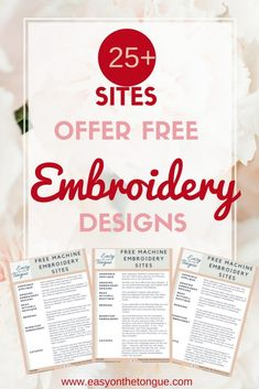 Vintage Embroidery Patterns - Searching for free machine embroidery designs? Click through to get our list of 15 sites where you can find great embroidery freebies. Machine Embroidery Projects, Embroidery Transfers, Learn Embroidery, Free Machine Embroidery Designs, Hand Embroidery Patterns, Ribbon Embroidery, Embroidery Stitches, Embroidery Sampler, Embroidery Jewelry