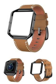 "Genuine Leather Band Fitbit Blaze w/ Frame Gold Metal Small Strap Brown 5""-7.1"" #Swees"