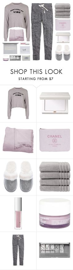 """good bad vibes"" by amazing-abby ❤ liked on Polyvore featuring Topshop, Lala + Bash, Victoria's Secret, Christy, RMK, Korres, Madewell, Boohoo and Stila"