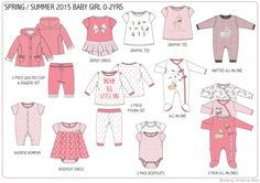 A collection of personal design development and range planning work for layette newborn baby, shape, print & graphic design. Fashion Themes, Kids Fashion, Silhouette Mode, Baby Kids Wear, Girls Sleepwear, Graphic Design Print, Fashion Design Sketches, Stylish Kids, Baby Design