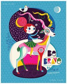Ser valiente. Ser fuerte... - edición limitada de Giclee de una ilustración original (8 x 10 in)