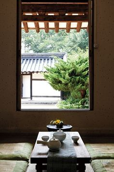 한옥 Hanok traditional Korean house open window in summertime