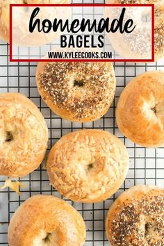 Just 4 ingredients!! Learn how to make homemade bagels! Fresh, warm and chewy, topped with whatever you fancy - they are easy to make and absolutely delicious! #homemade #bread #bagels #kyleecooks