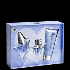 ANGEL Delicious Valentine's Day Gift Set - To have and to hold close at hand, the delicious, captivating scent of ANGEL is the perfect Valentine's Day gift.  First, layer on the 100ml / 3.4 oz. Perfuming Body Lotion for skin that's heavenly soft to touch; and then, spray a celestial mist of the 25ml /.8 oz. ANGEL Eau de Parfum to enfold you in its enchanting scent.  A 5ml / .17 oz. Eau de Parfum miniature star is included to accompany you on your delicious travels.