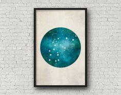 Constellation Print Aquarius Art Printable Wall by wildowlsolstice