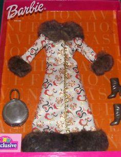 2001 RARE Barbie Fashion Avenue Midi Length Coat Collection Faux Fur Purse Boots Toys R Us | eBay