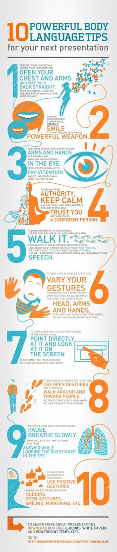 10 Powerful body language tips for your next presentation (infographic) - help students develop good communication skills in any content area. Professional Development, Self Development, Langage Non Verbal, Marketing, Public Speaking Tips, Presentation Skills, Presentation Pictures, Sales Presentation, Business Presentation