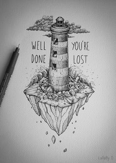 Well done, you're lost ! on behance cute drawings, easy drawings sketches Easy Drawings Sketches, Cute Drawings, Hard Drawings, Pencil Drawings, Drawing Ideas, Art And Illustration, Stylo Art, Art Du Croquis, New Tattoo Designs