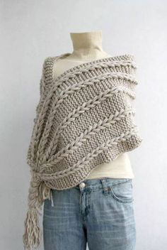 Hand Knitted Beige Rectangle Scarf, OverSize Long Cable Scarf, Winter Knitting Accessories, Beige scarf scarf Christmas gift UNDER her for girl for mom Gilet Crochet, Knit Or Crochet, Knitted Shawls, Crochet Scarves, Crochet Shawl, Knit Poncho, Crochet Vests, Crochet Cape, Crochet Edgings