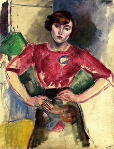 Hermine in a Red Blouse Jules Pascin - 1909