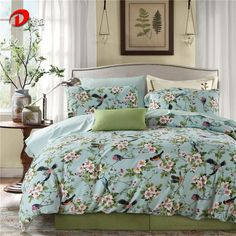 Luxury Satin Bed Linen Egyptian Cotton Bedding Set King Queen Size High Quality Birds & Floral Bed Set Duvet Cover Set Z13