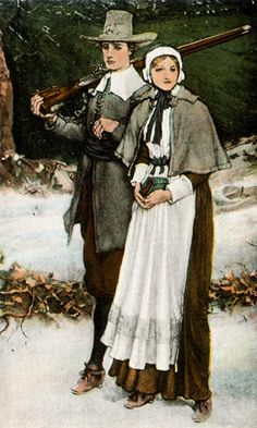"""John & Priscilla Mullins Alden, passengers on the """"Mayflower,"""" and subjects of the classic poem, """"The Courtship of Miles Standish,"""" written by a descendant, American poet, Henry Wadsworth Longfellow."""