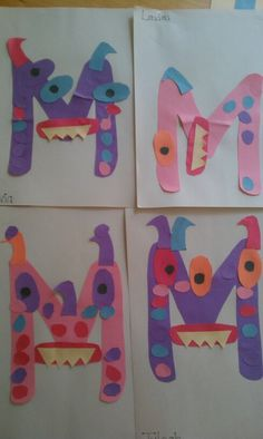 Letter M monsters :) #preschool #crafts #letter m