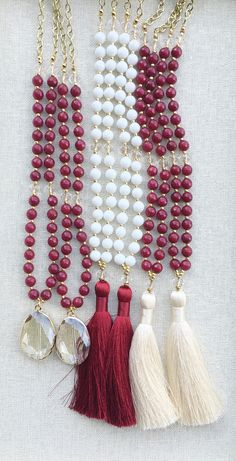 Gameday tassel necklaces, gemstone necklaces, Quartz pendant necklace, red necklace