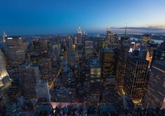 Aerial view over the Midtown Manhattan skyline