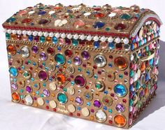 Big shiny and colorful treasure chest by giftsdecigano on Etsy, $200.00
