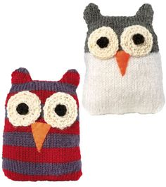 Knit Owls...hmmm...could make from single socks and felt??