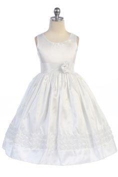 885fb9b0561 Click to enlarge   White Shimmer Taffeta Sleeveless Flower Girl Dress with  Rosebud Details A3413-